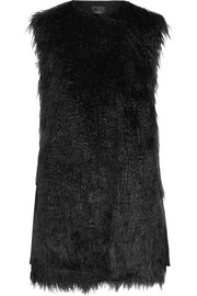Nyma faux shearling and crepe gilet