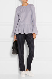 Theory Lexanda striped cotton-poplin peplum top