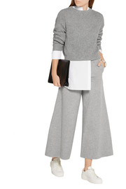 Henriet cropped brushed wool and cashmere-blend wide-leg pants