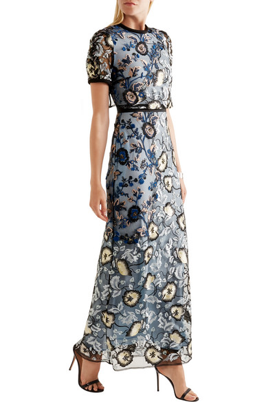 Self Portrait Florentine Embroidered Tulle Maxi Dress