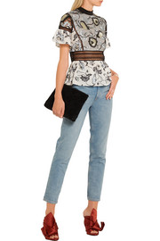 Lucia embroidered tulle and printed crepe de chine top