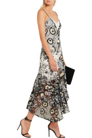 Nivienne embroidered tulle and printed crepe de chine dress
