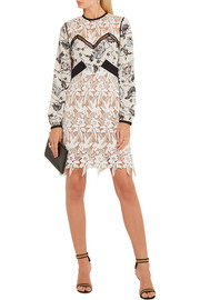 Guipure lace and printed crepe de chine mini dress