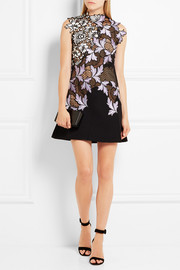 Lila guipure lace mini dress