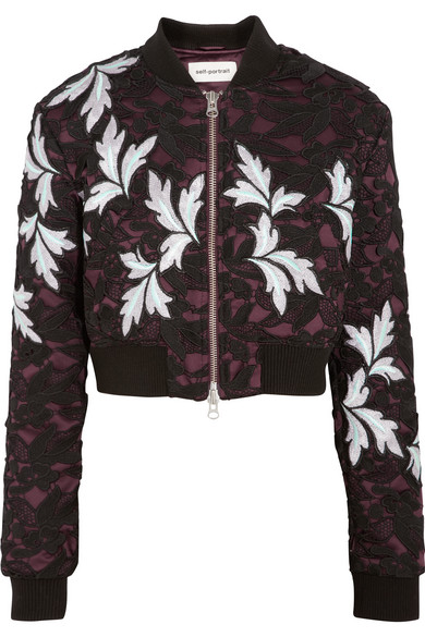 Self-Portrait - Cropped Guipure Lace And Satin Bomber Jacket - Black