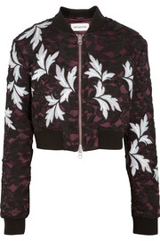 Cropped guipure lace and satin bomber jacket