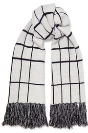 Mallori fringed checked merino wool scarf