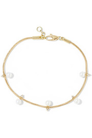 Revival 18-karat gold pearl and diamond bracelet