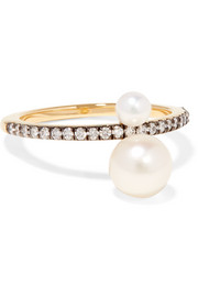 Prive 18-karat gold, diamond and pearl ring