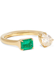 18-karat gold, diamond and emerald ring
