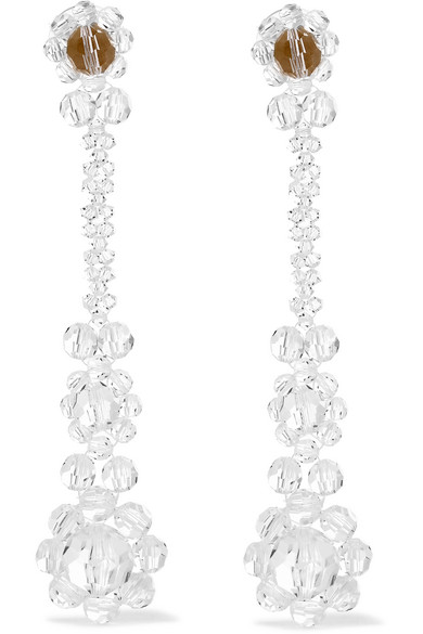 Simone Rocha - Gold-plated Crystal Earrings - White