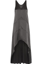 Asymmetric silk-satin dress