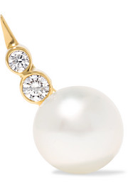 Lulu 14-karat gold, pearl and diamond earring