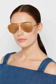 Linda Farrow Aviator-style gold-tone mirrored sunglasses