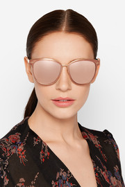 Linda Farrow Cat-eye brushed copper-tone mirrored sunglasses