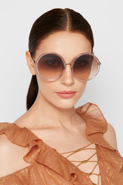 Linda Farrow Round-frame acetate and rose gold-tone sunglasses