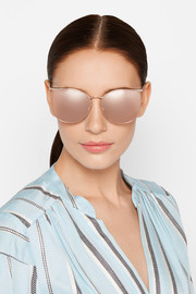 Linda Farrow Square-frame rose gold-tone mirrored sunglasses