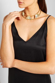 Triangle gold and silver-plated choker