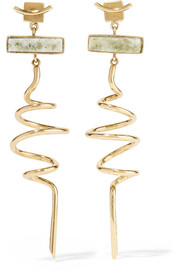 Gold-plated marble earrings