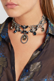 Oscar de la Renta Silver-plated crystal necklace