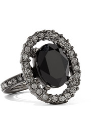 Gunmetal-tone crystal ring