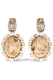 Oscar de la Renta Gold-tone, crystal and faux pearl clip earrings
