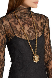 Oscar de la Renta Convertible gold-plated, crystal and faux pearl necklace