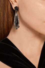 Oscar de la Renta Oxidized silver-plated, pewter and crystal clip earrings