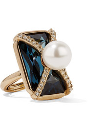 Gold-plated, Swarovski crystal and faux pearl ring