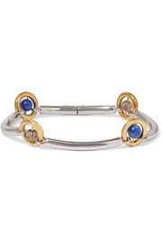 Renzo rhodium and gold-plated, lapis and quartz bracelet