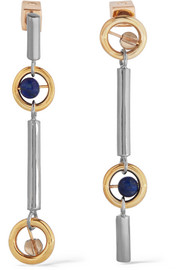 Gae gold and rhodium-plated, lapis and quartz earrings