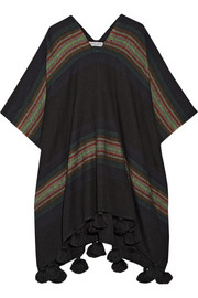 Serape tasseled striped alpaca-blend poncho