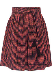Baja printed pleated silk-crepon mini skirt