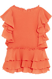 Hacienda ruffled silk-crepon top