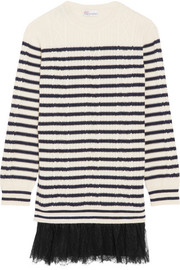 Chantilly lace-trimmed striped cable-knit  wool mini dress
