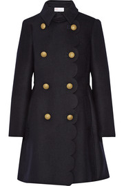Scalloped double-breasted wool-blend coat