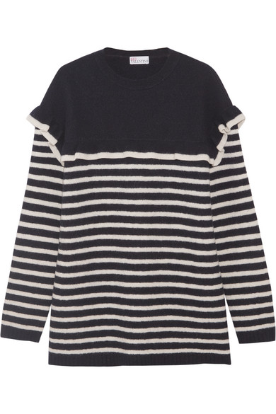 REDValentino - Ruffled Striped Wool-felt Sweater - Navy