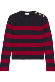 Striped ribbed wool sweater