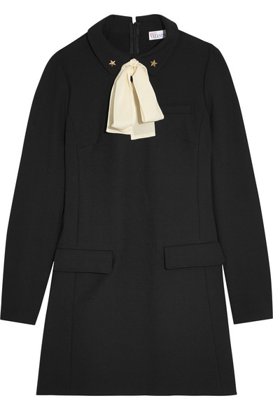 REDValentino - Pussy-bow Embellished Crepe Mini Dress - Black