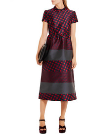 Polka-dot jacquard midi dress