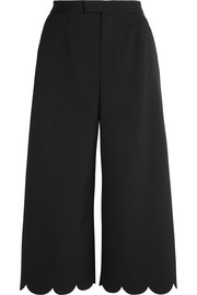 Cropped scalloped stretch-piqué wide-leg pants