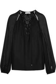 Benny cutout georgette-paneled silk blouse