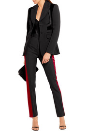 Rome velvet-paneled embroidered wool blazer
