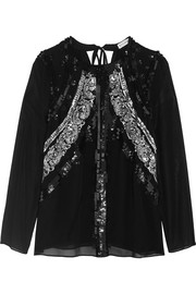 Madge sequin-embellished silk-chiffon blouse