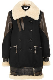 Ismir shearling and leather-trimmed wool-blend felt coat