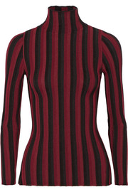 Bessie striped ribbed stretch-knit turtleneck sweater