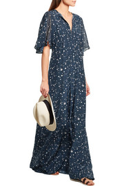 Constellation printed silk crepe de chine maxi dress