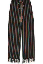 Fringed striped cotton-blend wide-leg pants