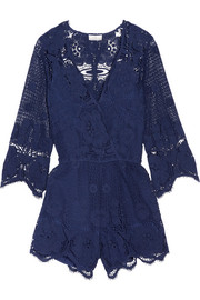 Greta crocheted cotton-lace playsuit