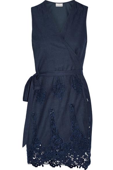 Miguelina - Alina Crochet-trimmed Cotton Wrap Mini Dress - Storm blue